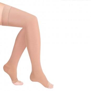 Чулки компрессионные Luomma Idealista с простой резинкой на силиконовой основе с открытым носком 2 класс компрессии рост long (72-83 см) арт. ID-310, цвет карамель