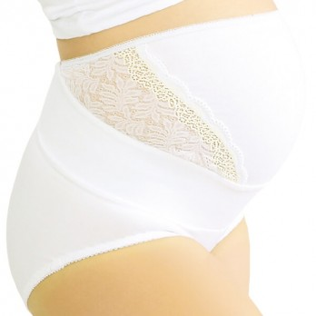 Трусы дородовые с кружевными вставками Тонус Эласт арт. 9902 Нера LUX, цвет белый